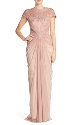 Women's Tadashi Shoji Embroidered Yoke Gathered Mesh Gown