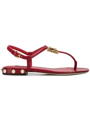 Dolce And Gabbana Logo Flat Sandals Red