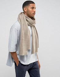 Asos Knitted Blanket Scarf In Taupe Beige