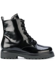 Twin Set Lace Detail Combat Boots Women Leather Patent Leather Rubber 36 Black