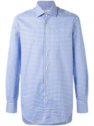 Kiton Check Shirt Men Cotton 44 Blue