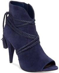Vince Camuto Astan Braided Strap Booties Women's Shoes Navy Haze