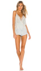 Flora Nikrooz Genevive Romper With Lace In Baby Blue. Ice Flow