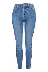 Topshop Tall Side Lace Denim Jamie Jeans Mid Stone