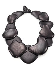 Josie Natori Snakeskin Embossed Wood Necklace Black