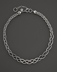 John Hardy Diamond Pave Sterling Silver Classic Chain Collar Necklace .93 Ct. T.W.
