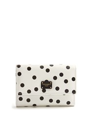 Dolce And Gabbana Polka Dot Print Leather Wallet White Black