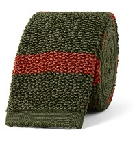 Dunhill 6Cm Striped Knitted Mulberry Silk Tie Army Green