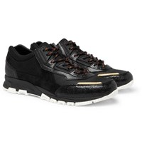 Lanvin Mesh Suede And Textured Leather Sneakers Black