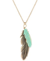 Lucky Brand Gold Tone Patina Feather Pendant Necklace