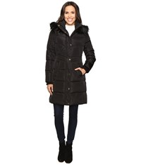 Jessica Simpson Long Puffer W Waist Detail Hood And Faux Fur Black Women's Coat