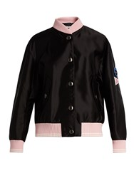 Miu Miu Sleeve Applique Bomber Jacket Black