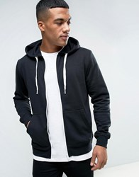 Solid Zip Up Hoodie In Black Black
