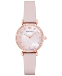 Emporio Armani Women's Gianni T Bar Pink Leather Strap Watch 32Mm Ar1958