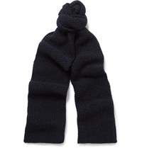 The Workers Club Merino Wool Scarf Navy