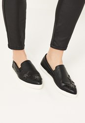 Missguided Black Star Embellished Slip On Trainers