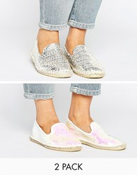Asos Jeanie Two Pack Espadrilles Pearl Nat Silver Multi