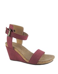 Adrienne Vittadini Ted Suede Wedge Sandals Red