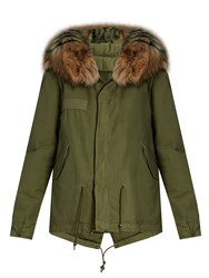 Mr And Mrs Italy Fur Trimmed Canvas Mini Parka Khaki