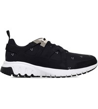 Neil Barrett Molecular Patterned Leather Runner Trainers Blk White