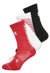 Under Armour Crew 3 Pack Sports Socks Red White Black
