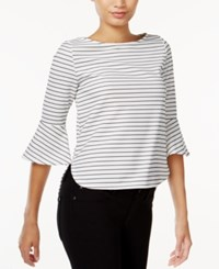 Bar Iii Striped Bell Sleeve Top Only At Macy's Washed White