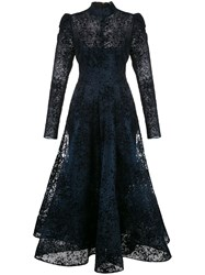 Christian Siriano High Neck Lace Dress Blue