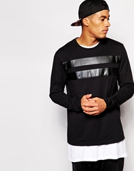 Asos Skater Long Sleeve T Shirt With Leather Look Stripe Black