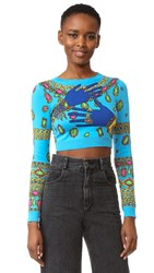 Moschino Cropped Sweater Fantasy Print Light Blue