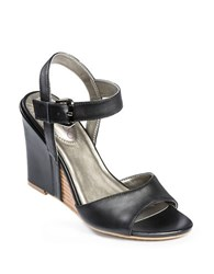 Me Too Lucie Leather Wedges Black