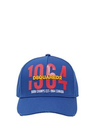 Dsquared 1964 Printed And Embroidered Canvas Hat Royal Blue