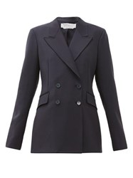 Gabriela Hearst Angela Double Breasted Wool Blend Jacket Navy