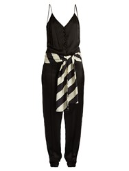 Hillier Bartley Sleeveless Silk Satin Slim Leg Jumpsuit Black