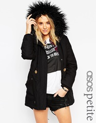 Asos Petite Parka In Cocoon Fit Black