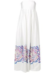 Prabal Gurung Stripeless Empire Gown White