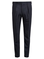 Paul Smith Slim Fit Checked Wool Trousers Navy