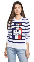 Michaela Buerger Striped I Love Paris Sweater Navy White Multi
