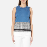 Karl Lagerfeld Women's Denim And Boucle Top Blue