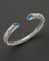 John Hardy Sterling Silver Bamboo Medium Kick Cuff With Swiss Blue Topaz No Color