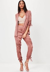 Missguided Rose Gold Ruched Front Cigarette Trousers