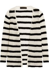 The Elder Statesman Mr Simple Striped Cashmere Cardigan Black