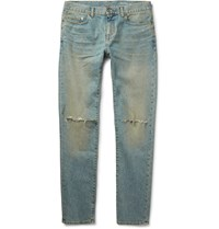 Saint Laurent Skinny Fit Distressed Stretch Denim Jeans Light Denim