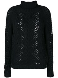 Ermanno Scervino Open Cable Knit Jumper Polyamide Wool Alpaca Black
