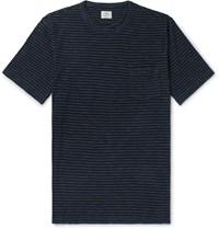 Faherty Indigo Dyed Striped Cotton Jersey T Shirt Blue