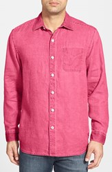 Men's Tommy Bahama 'Sea Glass Breezer' Original Fit Linen Shirt Ruby Red