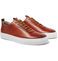 Grenson Hand Painted Leather Sneakers Tan