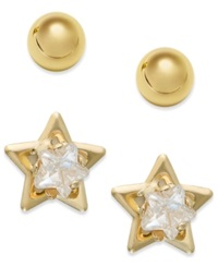 Macy's 10K Gold Earrings Set Cubic Zirconia Accent Star And Ball Stud Earrings