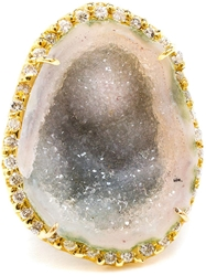 Kimberly Mcdonald 18Kt Yellow Gold Diamond And Geode Ring Green
