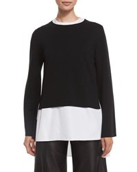 Adam By Adam Lippes Double Faced Bell Sleeve Top Black White