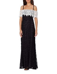 Tahari By Arthur S. Levine Colorblock Popover Lace Gown Black White